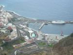 view from a mountain down to the harbour of Santa Cruz de la Palma